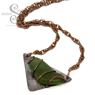 One-Off Sea-Glass Copper Pendant
