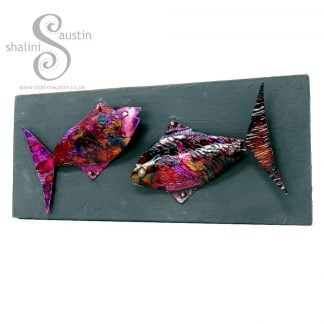 Colourful FUNKY FISH 04 on Upcycled Wood