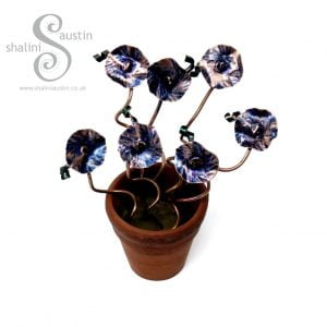 Miniature Copper Flowers in a little Terracotta Pot - Blue