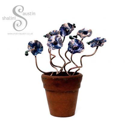 Miniature Copper Flowers in a little Terracotta Pot - Blue