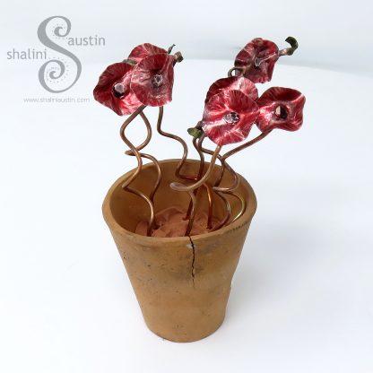 Miniature Copper Flowers in a little Terracotta Pot - Red