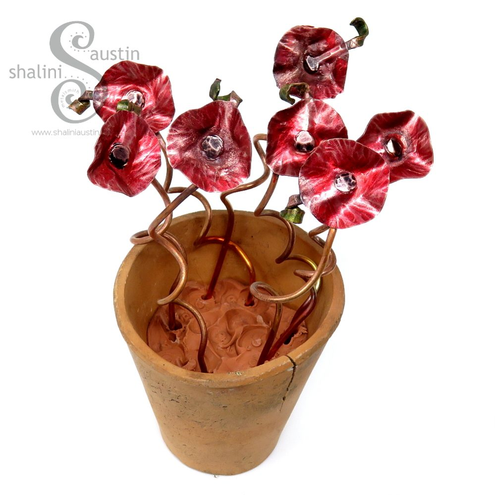 Miniature Copper Flowers in a little Terracotta Pot - Red