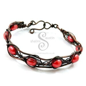 Bright Red Freshwater Pearls and Copper Wire Bracelet