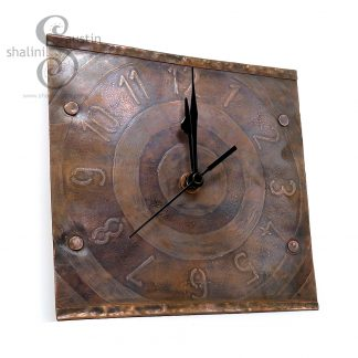 Etched Copper Wall Clock Bulls Eye
