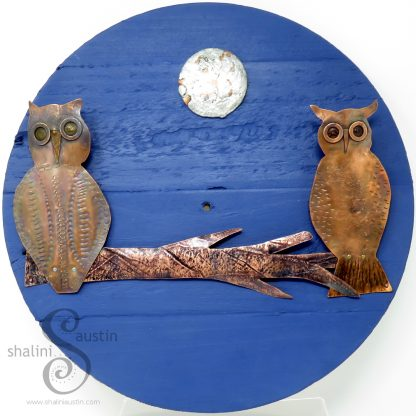 FIRST DATE Copper Owls on a Wall Art