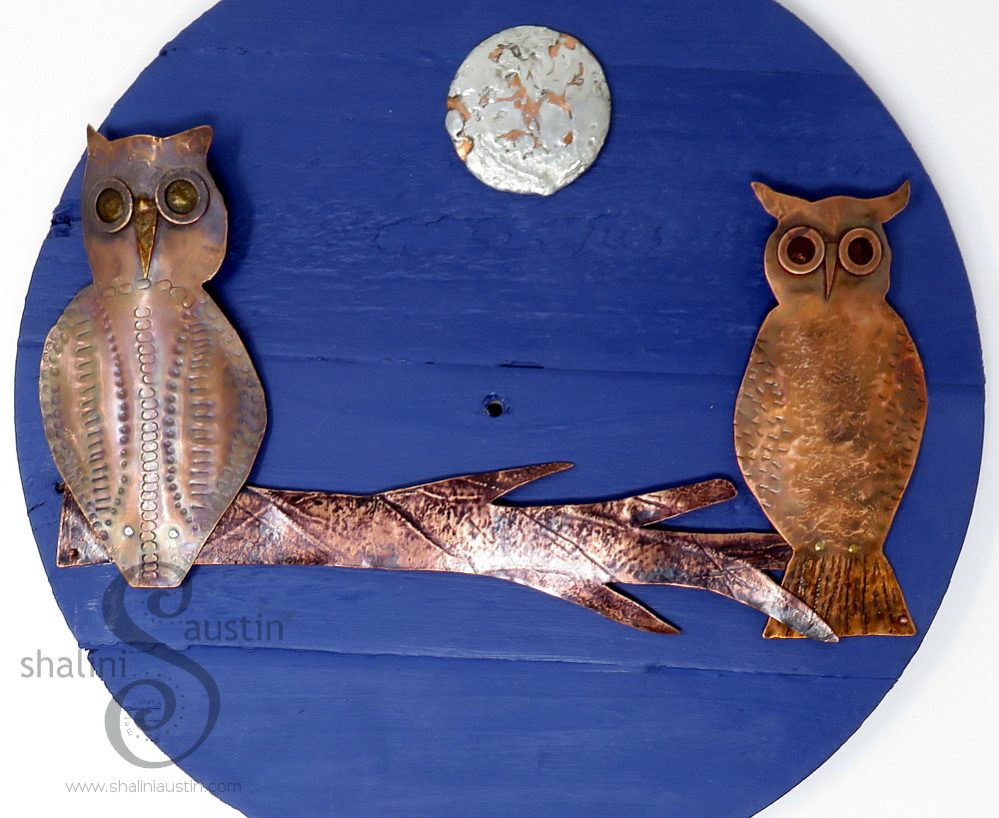 Copper Owls Wall Art FIRST DATE on a Recycled Wood Mount