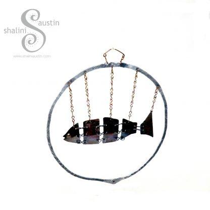 Antique Copper Fish In Aluminium Ring