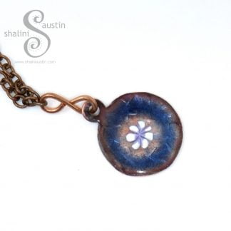 Dainty Round Copper Pendant Blue and White