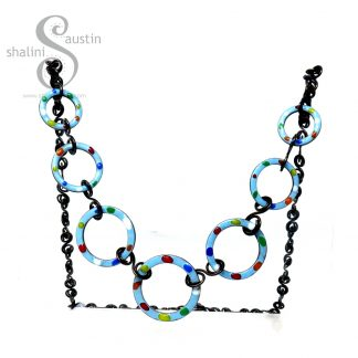 Enamelled Copper Necklace TUTTI FRUTTI – Sky Blue