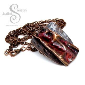 Mahogany Enamelled Rustic Copper Pendant