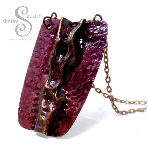 Rustic Copper Pendant Royal Purple | Enamelled