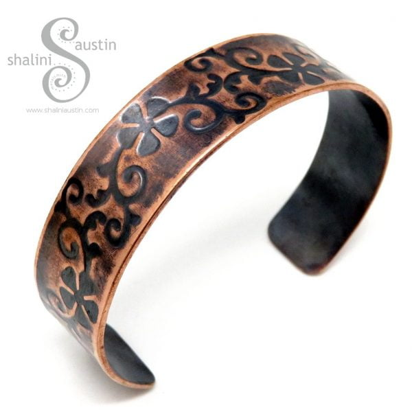 Embossed Copper Cuff FLORAL (02)