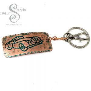 Embossed Copper Keyring CLASSIC CAR 02