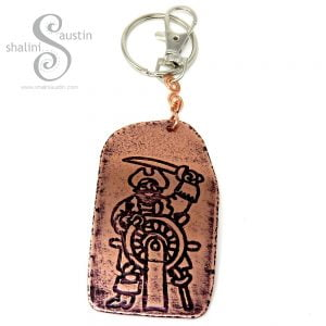 Handmade Gifts: Embossed Copper Keyring PIRATE