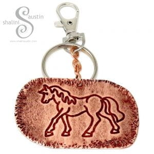 Embossed Copper Keyring HORSE, Great Gift!