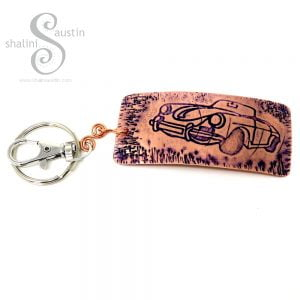 Embossed Copper Keyring VINTAGE CAR (02)