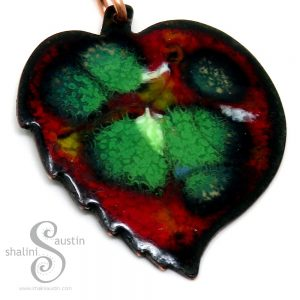 Colourful Enamelled Copper Pendant STRAWBERRY