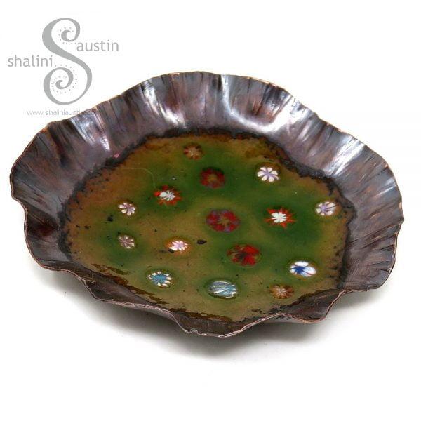 Green Enamelled Copper Trinket Tray (03)