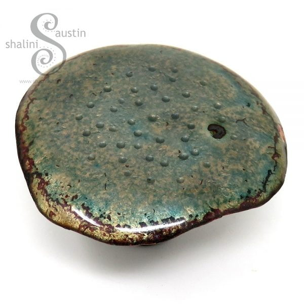 Decorative Copper Mushroom (01) - Enamelled Blue Grey