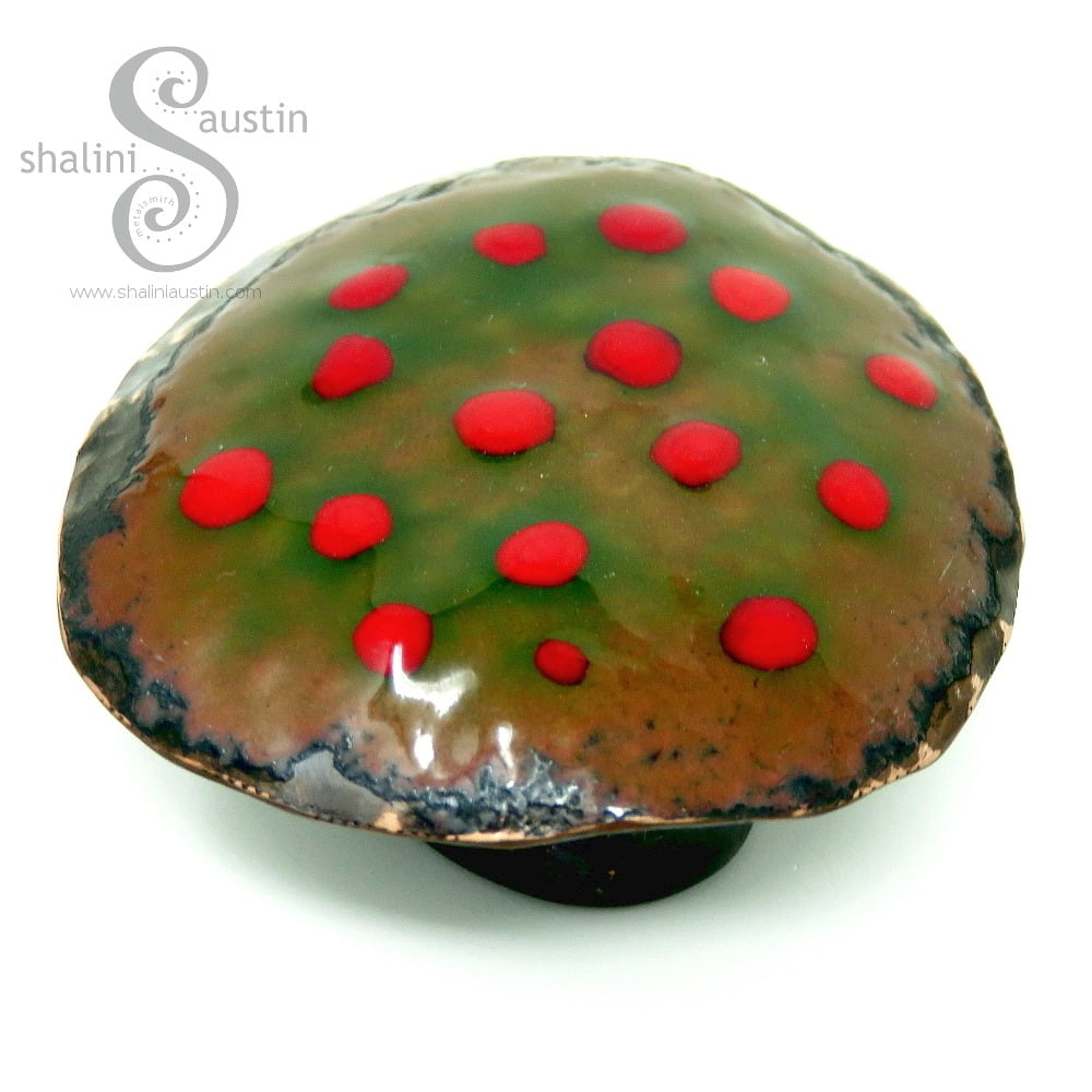 Decorative Copper Mushroom (03) - Green and Red