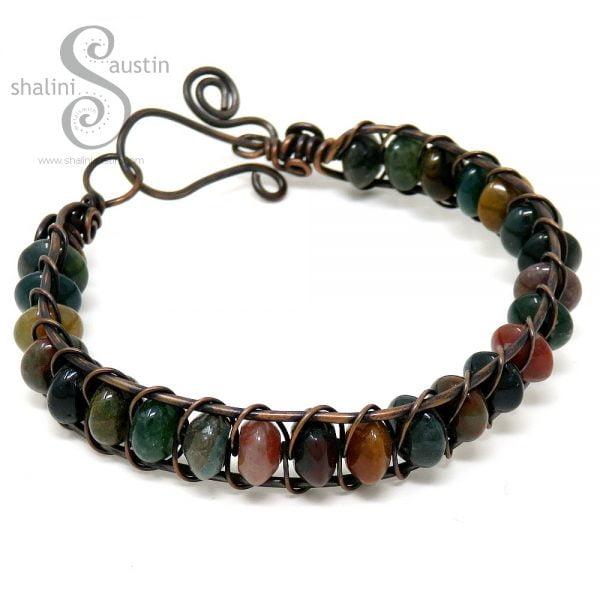 Indian Agate Wire Weave Bracelet 03