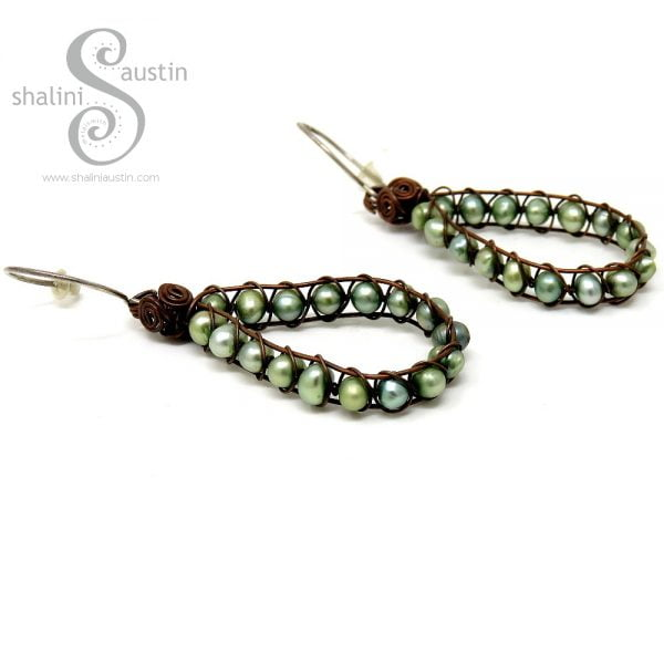 Wire Weave Freshwater Pearls Earrings