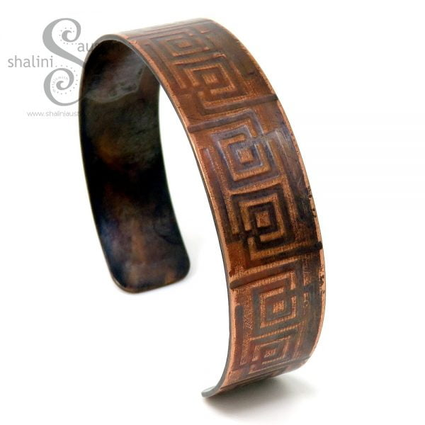Embossed Copper Cuff MAZE (02)