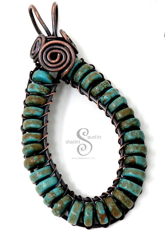 Turquoise Wire Weave pendant