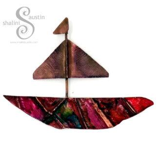 Miniature Copper Boat Wall Art