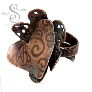 One-Off Copper Heart & Flower Ring