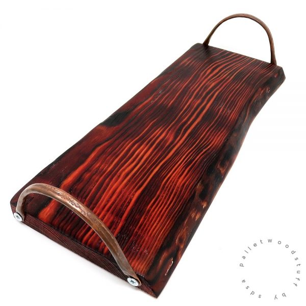Pallet Wood Tray FLAME with Copper Handles