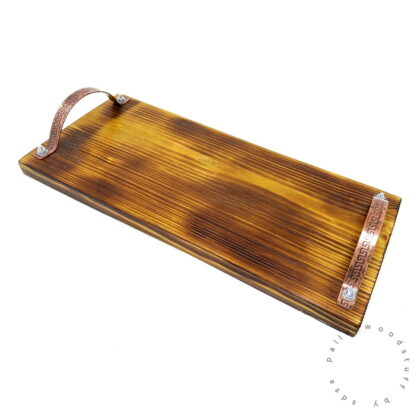 Pallet Wood Tray PEAR GREEN with Copper Handles