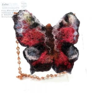 Felt Butterfly on Copper Necklace 01