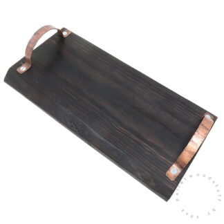 Pallet Wood Tray BLACK (01) with Copper Handles