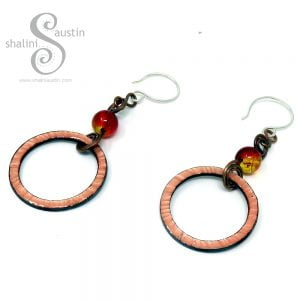 Enamelled Copper Circle Earrings with Glass Beads