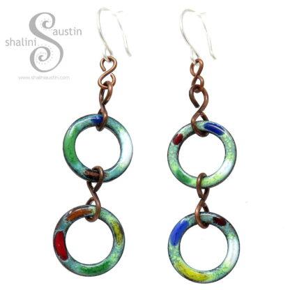 Colourful Copper Circle Earrings TUTTI FRUTTI