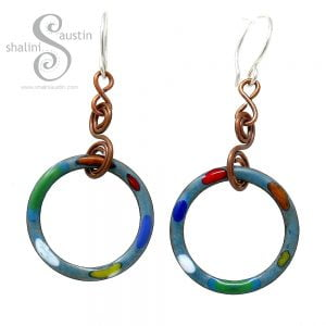 Teal Enamelled Copper Earrings TUTTI FRUTTI