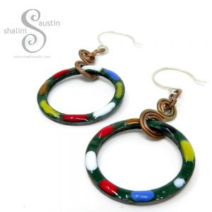 Copper Circle Earrings Forest Green TUTTI FRUTTI