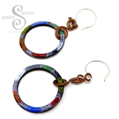 Colourful Enamelled Copper Circle Earrings