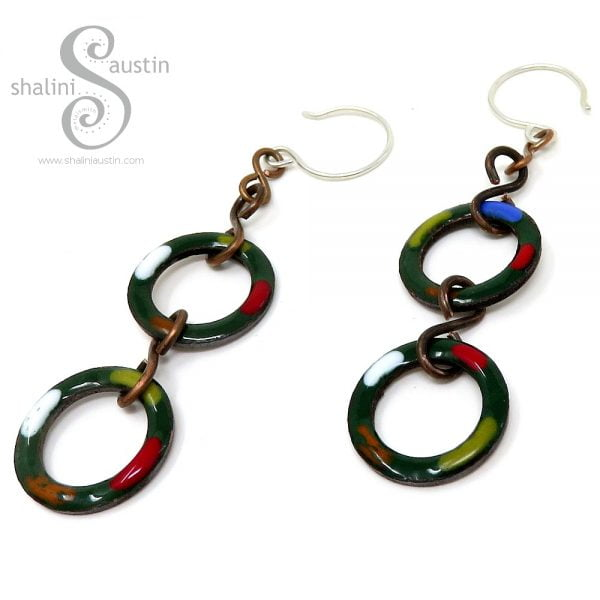 Forest Green Copper Circle Earrings TUTTI FRUTTI