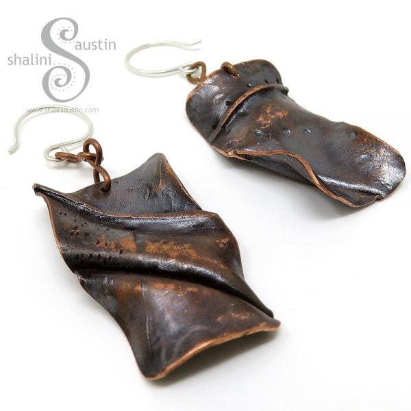 One Off Rustic Copper Earrings