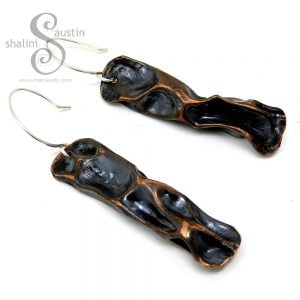 Antique Finish Rustic Copper Earrings