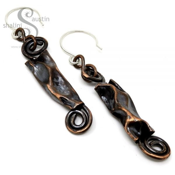 Rustic Copper Pipe Earrings - Antique Finish