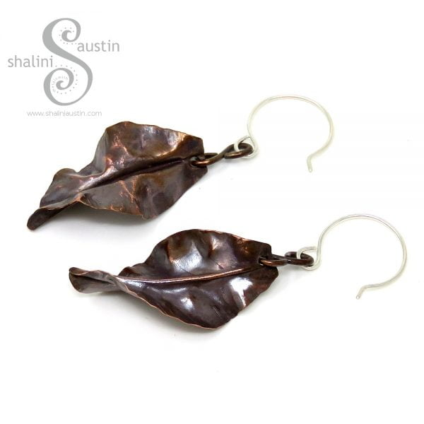 Fold-Formed Copper Leaf Earrings
