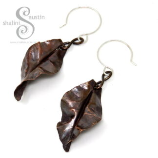 Copper Leaf Earrings | 5cm Long | Made to Order