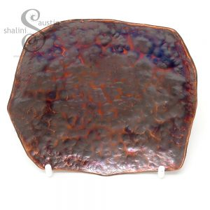 Small Copper Trinket Tray   Antique Finish   Flame Painted