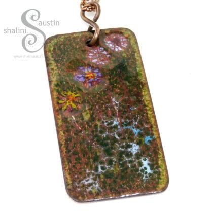 Gorgeous Enamelled Copper Pendant WILDFLOWERS 1