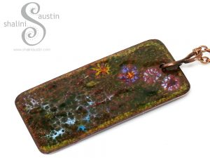 Gorgeous Enamelled Copper Pendant WILDFLOWERS 1