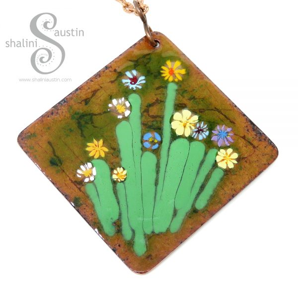 Enamelled Square Copper Pendant | BOUQUET 01