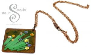 One-Off Square Copper Pendant with Little Flowers